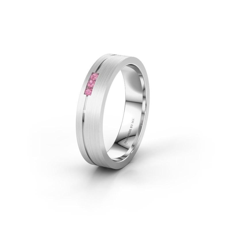 Trouwring WH0156L14X 375 witgoud roze saffier ±4x1.4 mm