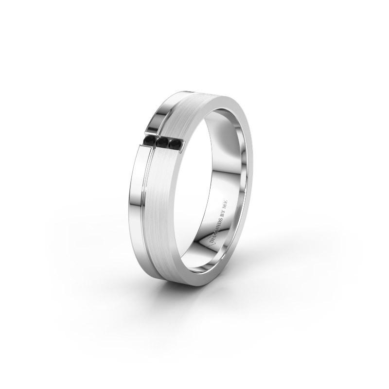 Trouwring WH0157L14XPM 925 zilver zwarte diamant ±4x1.4 mm