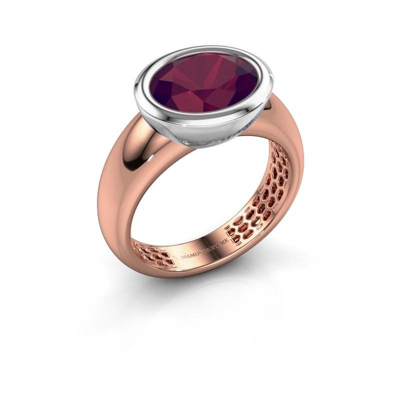 Ring Evelyne 585 rosé goud rhodoliet 10x8 mm