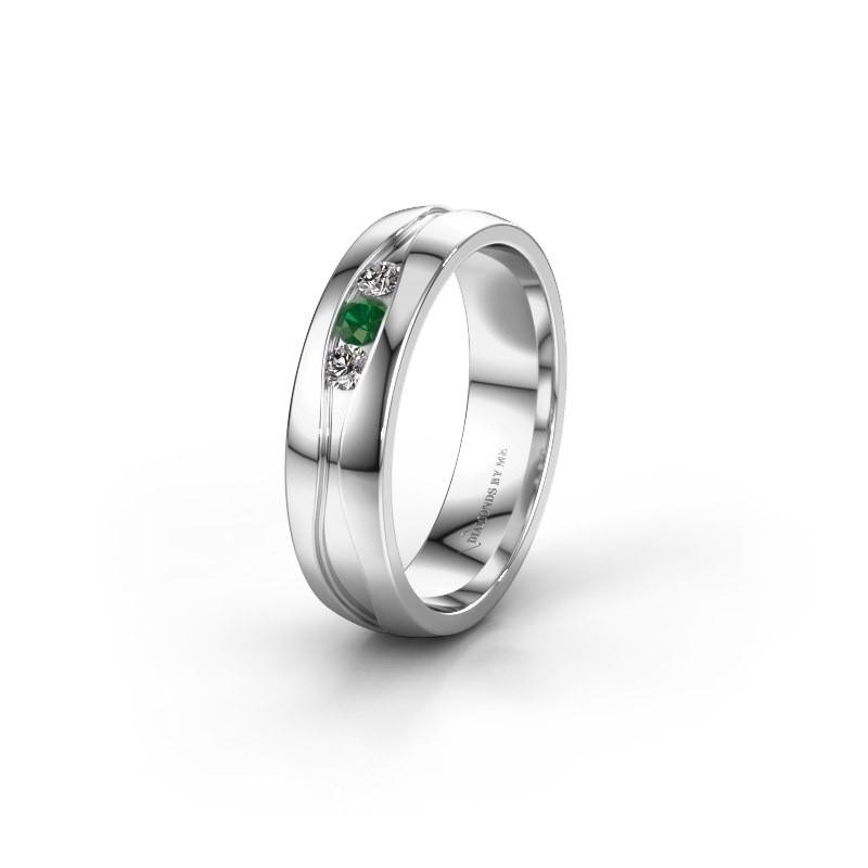 Trouwring WH0172L25A 925 zilver smaragd ±5x1.7 mm