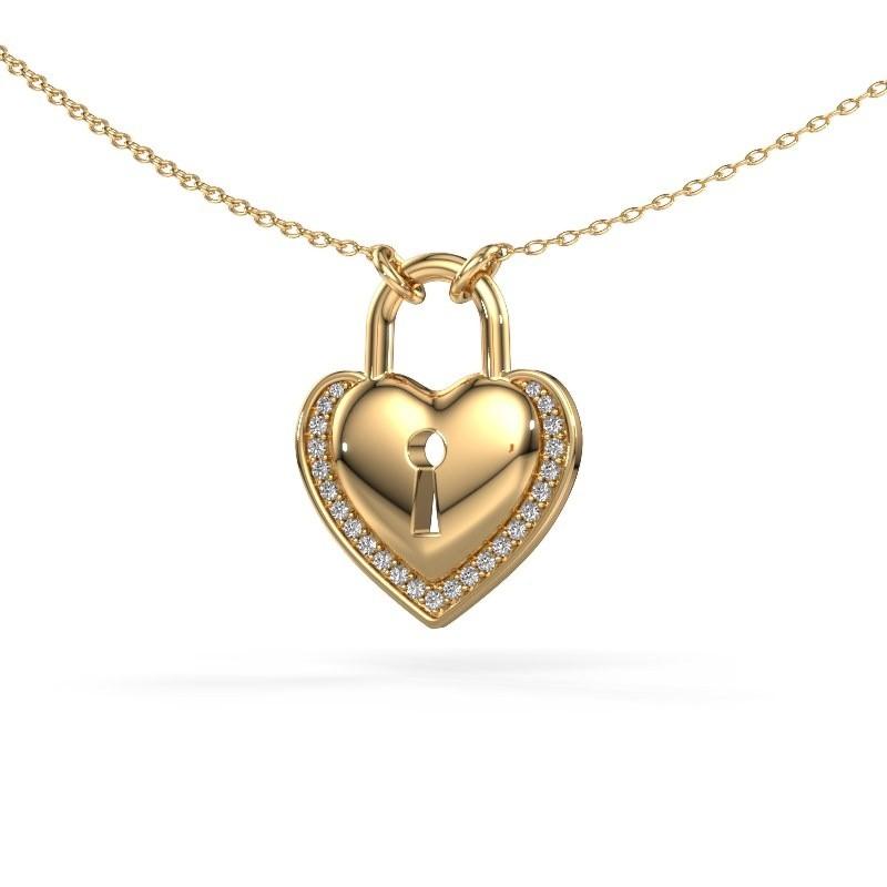 Halsketting Heartlock 585 goud diamant 0.115 crt