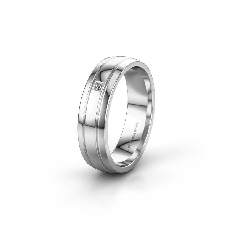 Trouwring WH0422L25X 585 witgoud diamant ±5x1.5 mm
