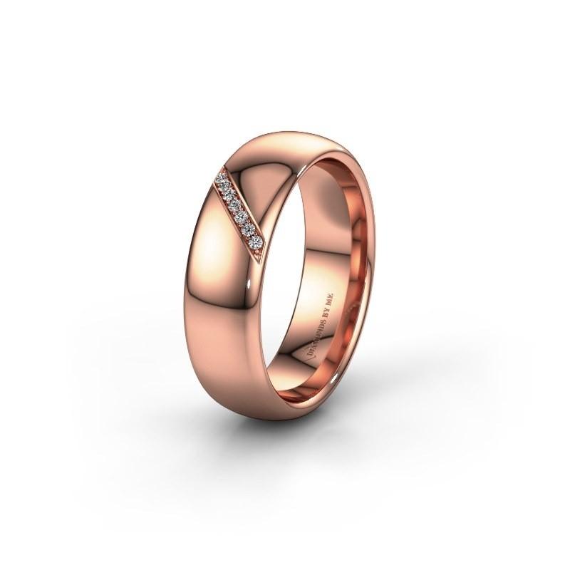 Trouwring WH0164L36B 585 rosé goud lab created ±6x2 mm
