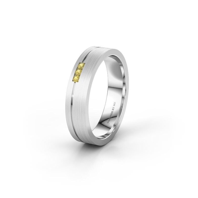 Trouwring WH0156L14X 925 zilver gele saffier ±4x1.4 mm