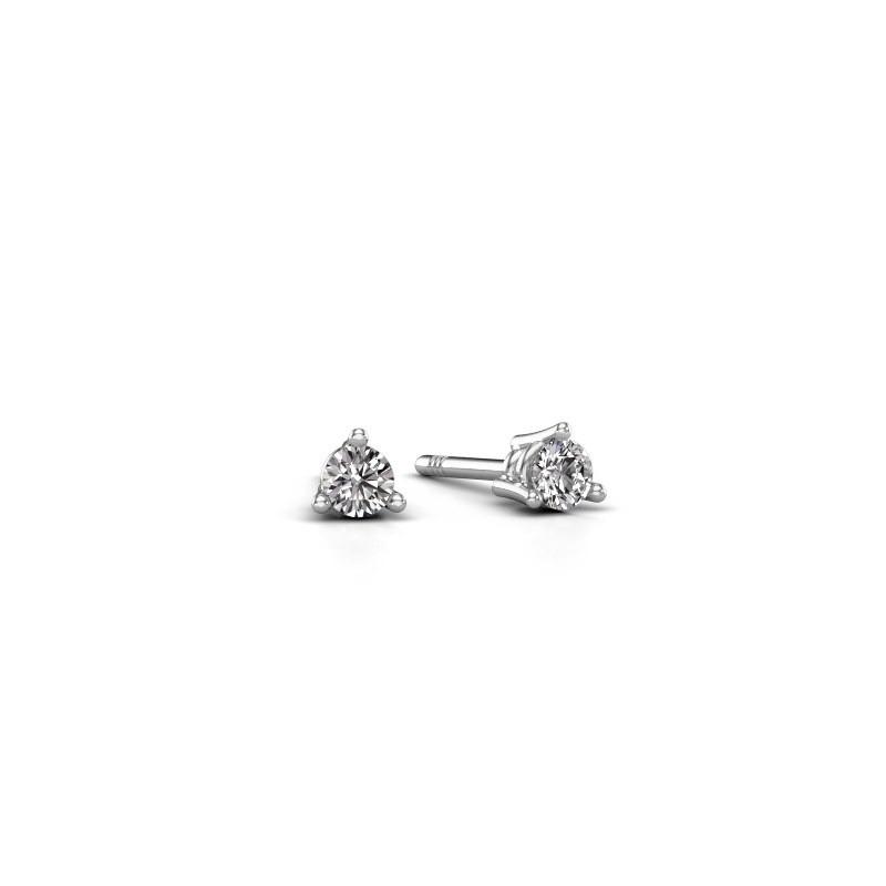 Oorstekers Somer 585 witgoud diamant 0.20 crt
