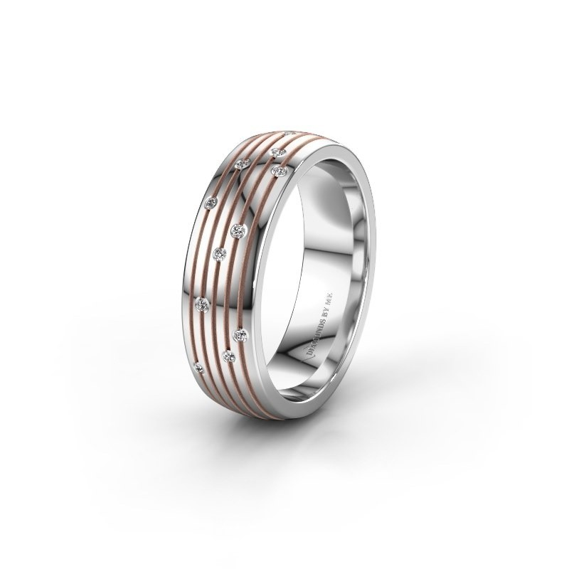 Trouwring WH0150L26A 585 witgoud zirkonia ±6x1.7 mm