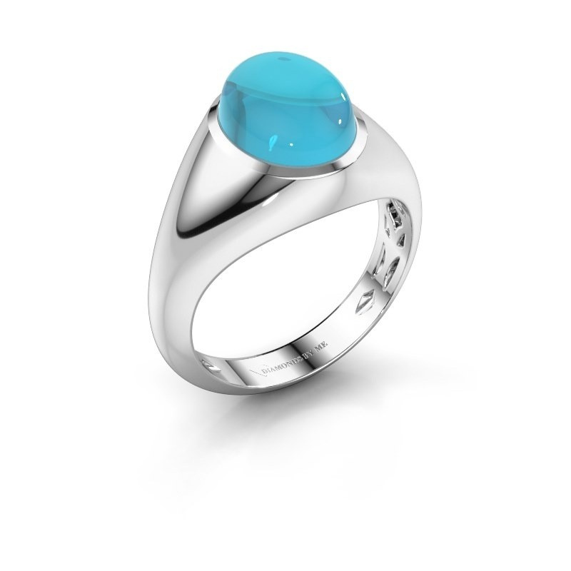 Ring Zaza 585 witgoud blauw topaas 10x8 mm