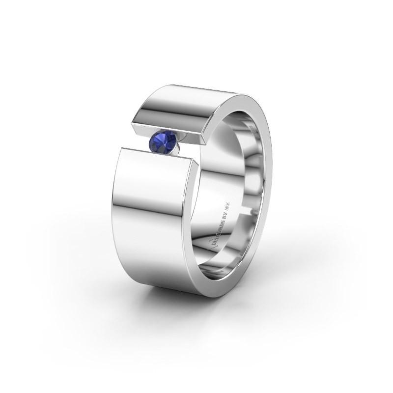Trouwring WH0146L18BP 925 zilver saffier ±8x2 mm