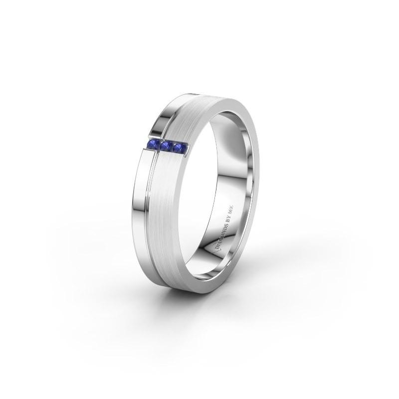 Trouwring WH0157L14XPM 925 zilver saffier ±4x1.4 mm