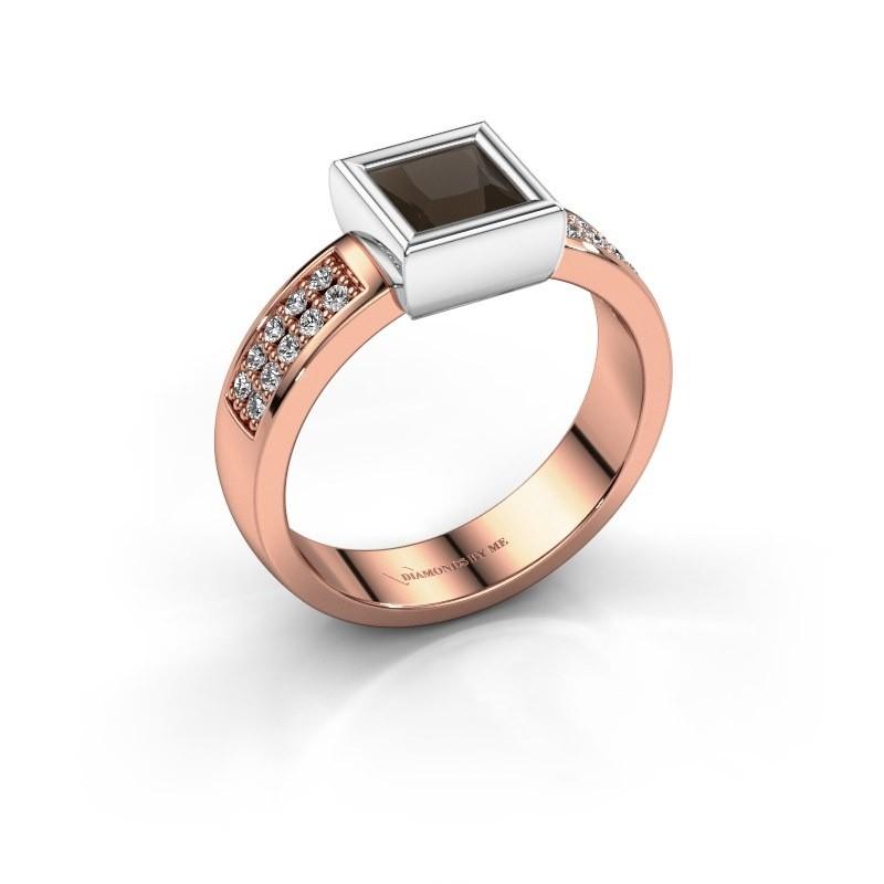 Ring Aimee 3 585 rosé goud rookkwarts 5 mm
