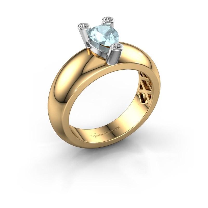 Ring Cornelia Pear 585 goud aquamarijn 7x5 mm