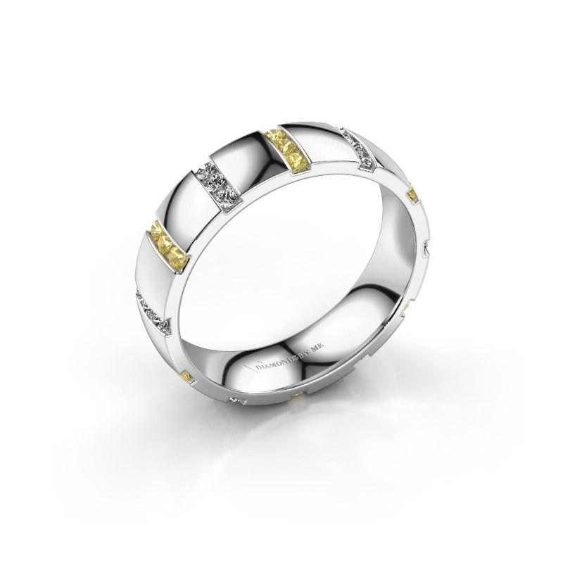Huwelijksring Juul 585 witgoud gele saffier ±5x1.8 mm