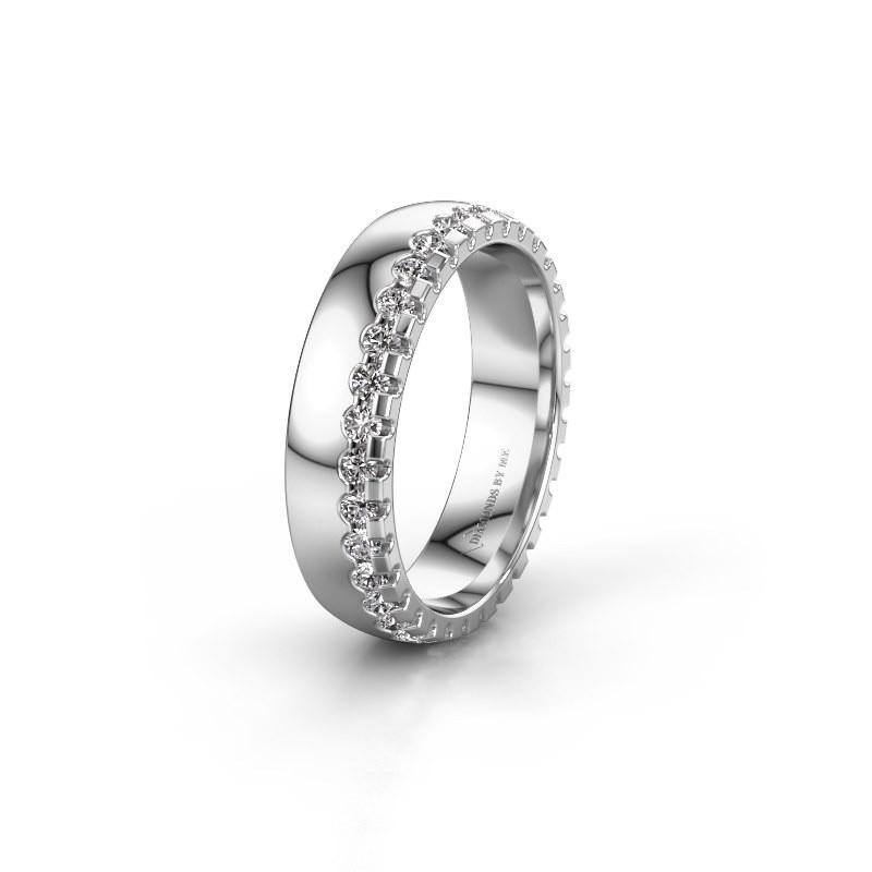 Trouwring WH6122L25B 585 witgoud diamant ±5x2 mm