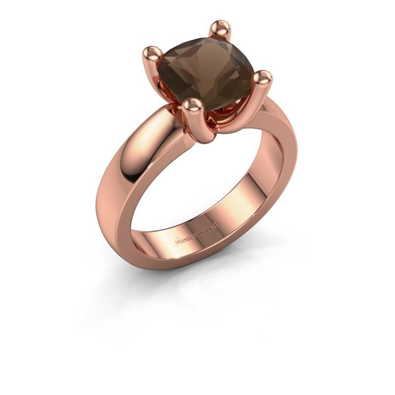 Ring Clelia CUS 585 rosé goud rookkwarts 8 mm
