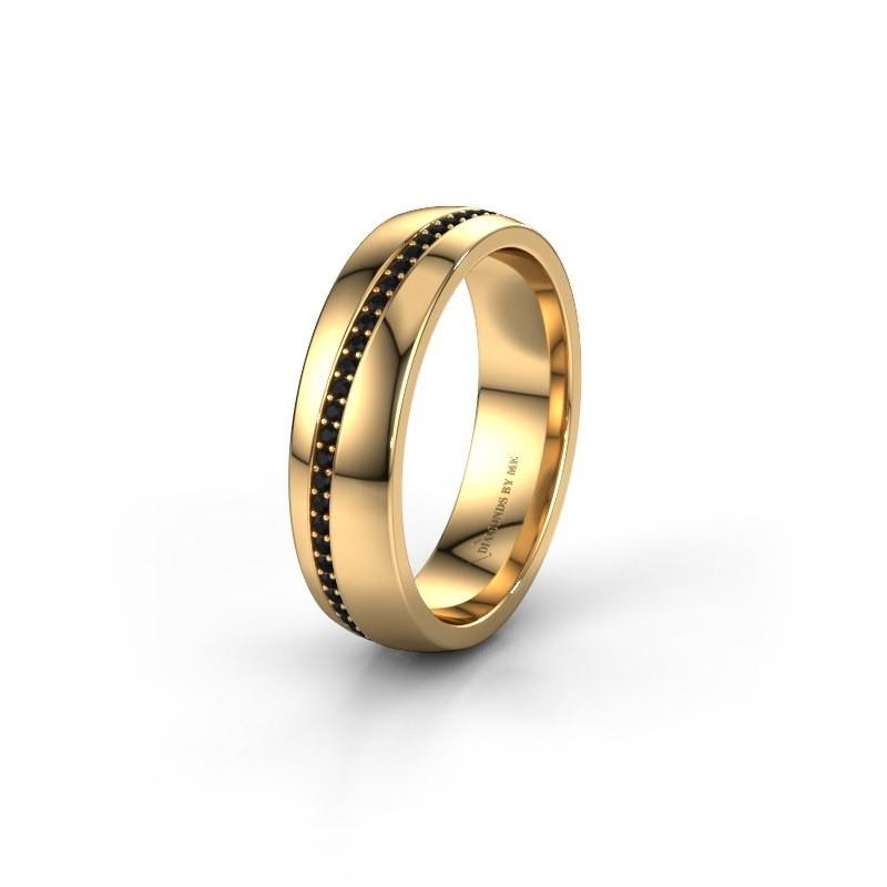 Trouwring WH0109L25A 585 goud zwarte diamant ±5x1.7 mm