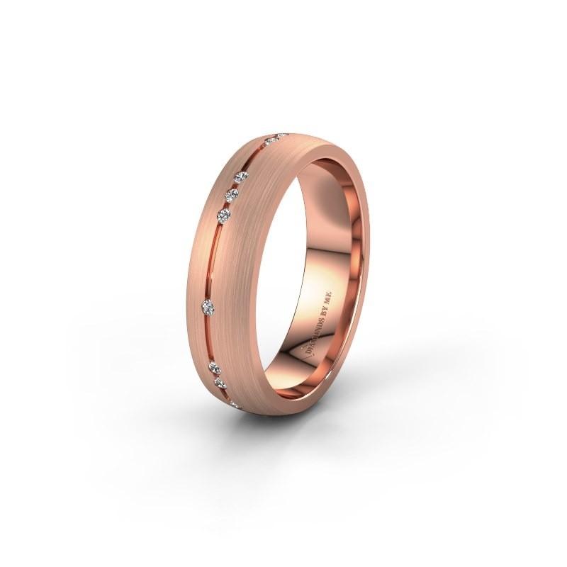 Trouwring WH0166L25A 585 rosé goud lab created ±5x1.7 mm