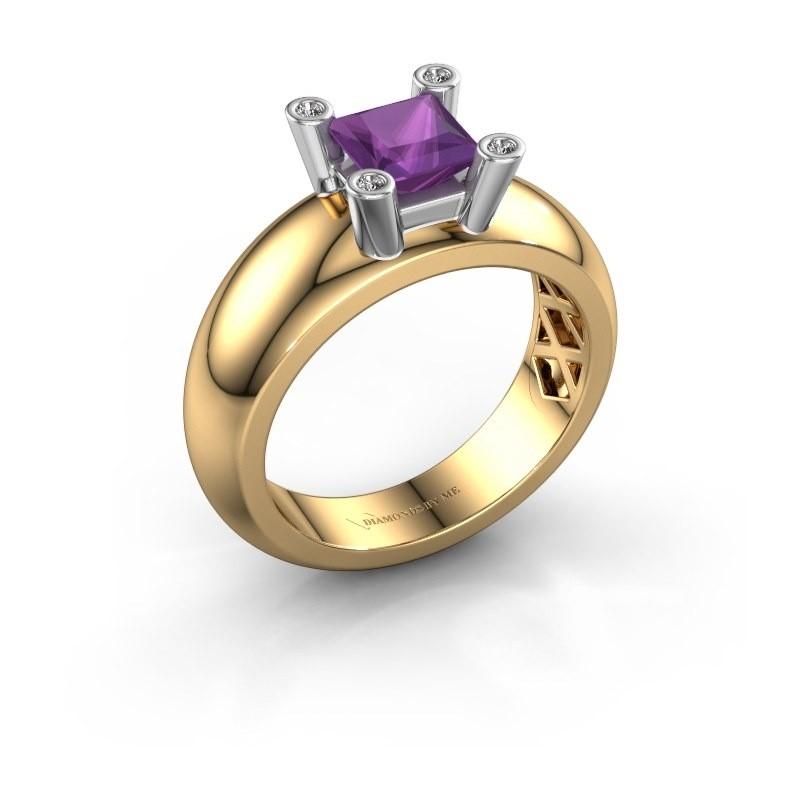 Ring Cornelia Square 585 goud amethist 5 mm