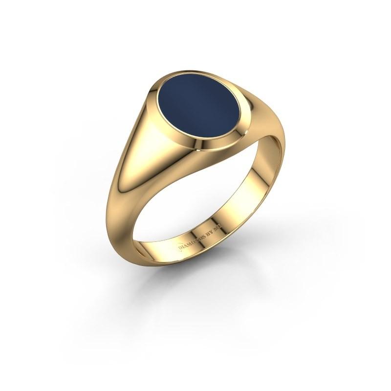 Zegelring Herman 1 F 585 goud Donker blauw lagensteen 10x8 mm