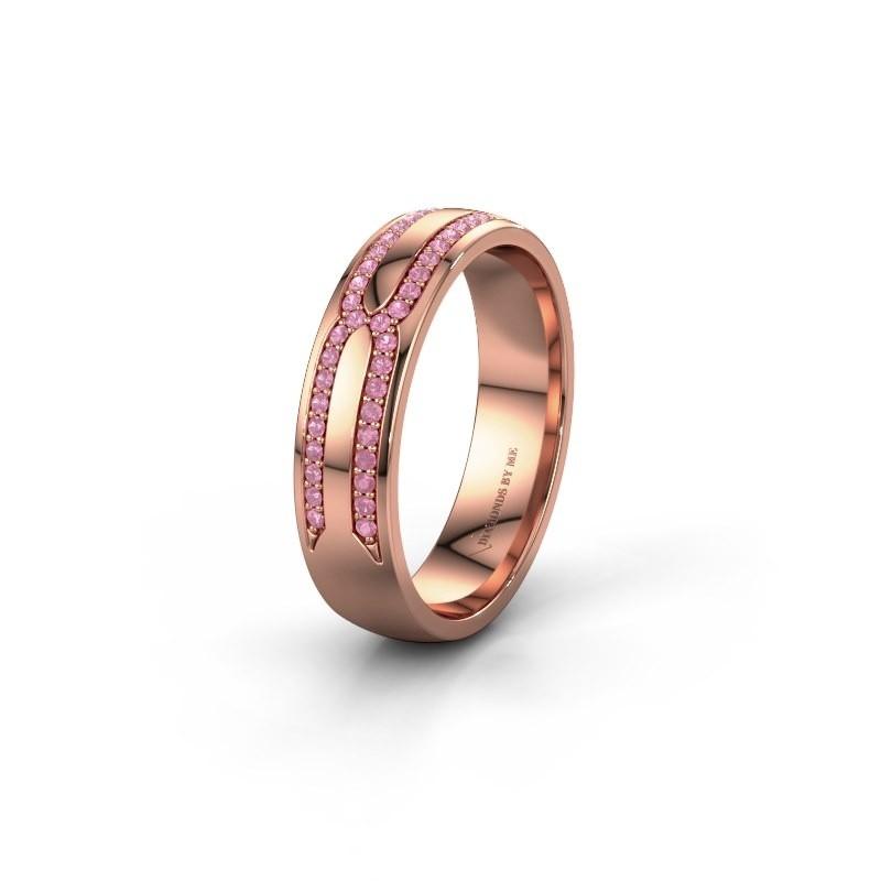 Trouwring WH2212L25AP 585 rosé goud roze saffier ±5x1.7 mm