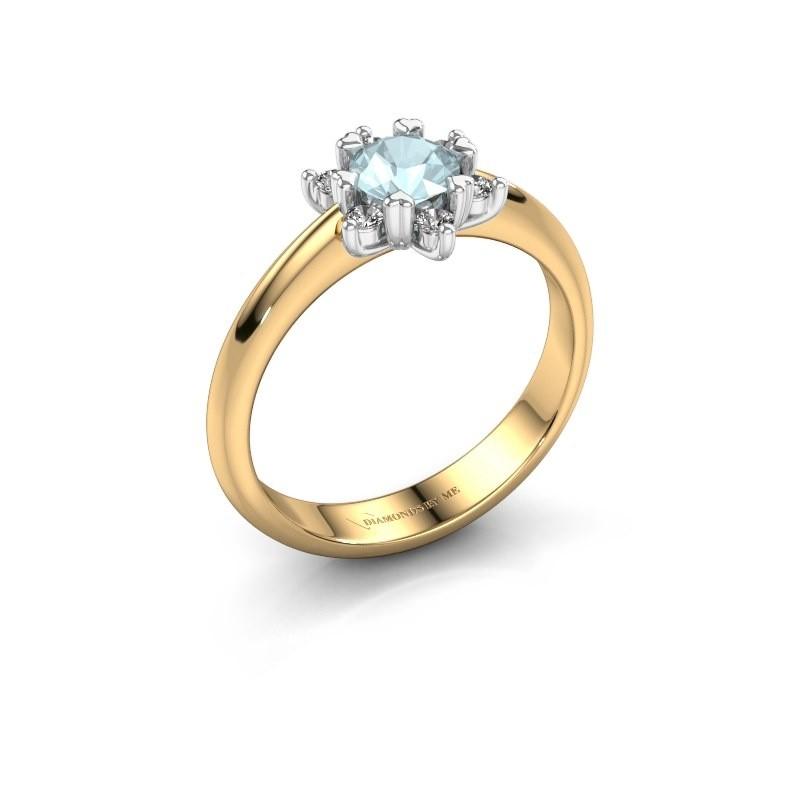 Ring Liesbeth 585 goud aquamarijn 5 mm