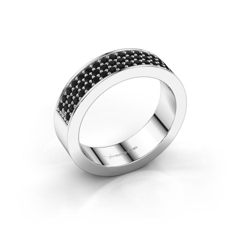 Ring Lindsey 4 585 witgoud zwarte diamant 0.636 crt