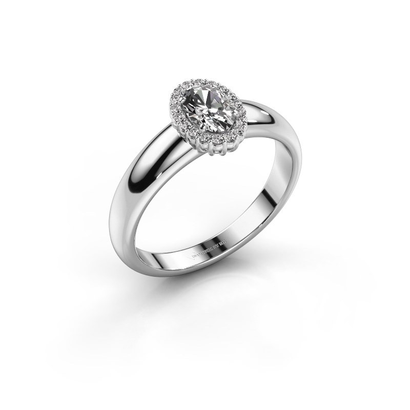 Engagement ring Tamie 585 white gold zirconia 6x4 mm