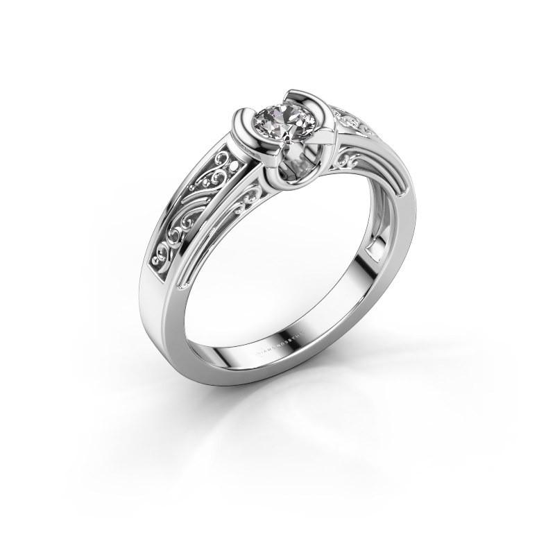 Ring Elena 585 witgoud diamant 0.25 crt