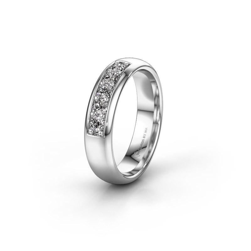 Trouwring WH0111L35BP 585 witgoud diamant ±5x2 mm