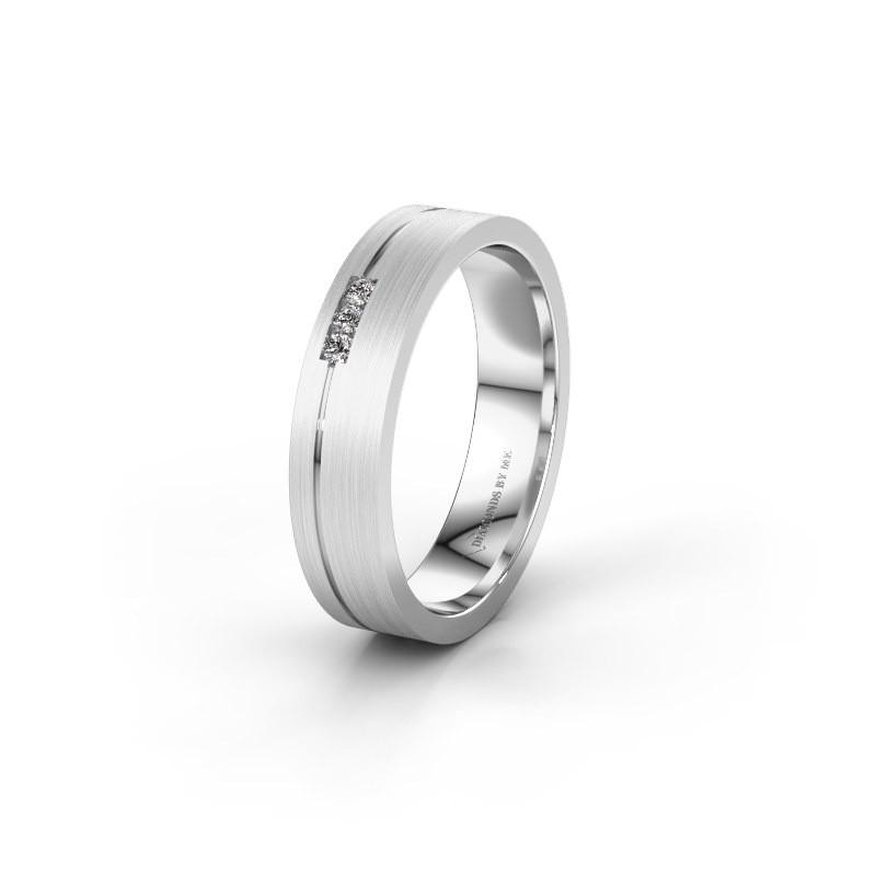 Trouwring WH0156L14X 375 witgoud diamant ±4x1.4 mm