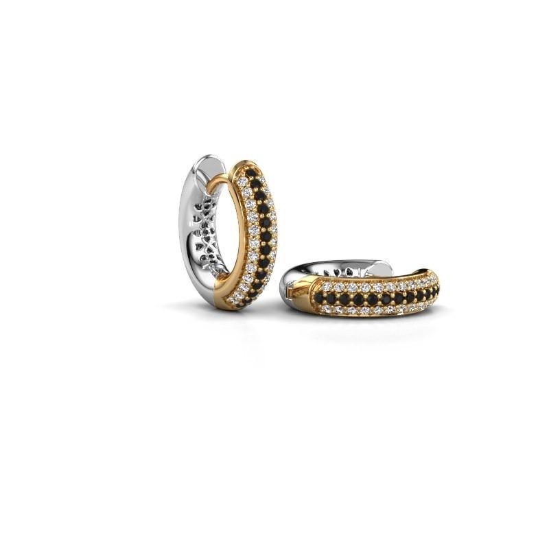 Creole Tristan B 14 mm 585 Gold Schwarz Diamant 0.348 crt