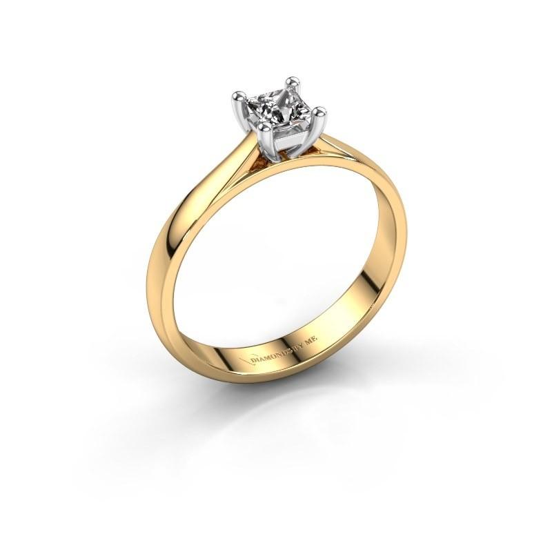 Aanzoeksring Sam Square 585 goud diamant 0.40 crt