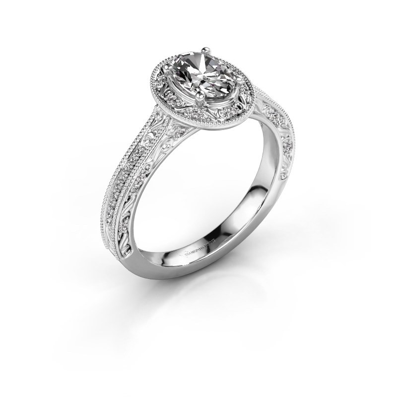 Einzigartiger Platin Verlobungsring Oval Diamant Alice Ovl