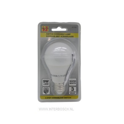 Led Lamp E27 A60 9W + Dimbare Schakelaar