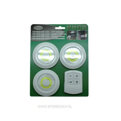 Led Push Cob 3-delig + afstandsbediening