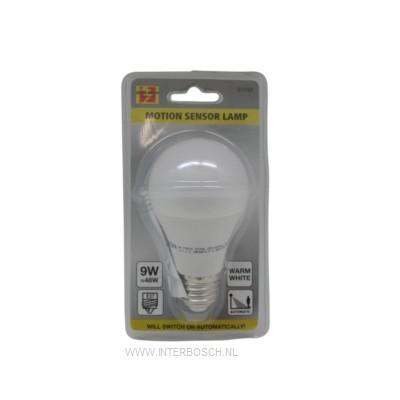 Ledlamp E27 A60 9W + Bewegingssensor