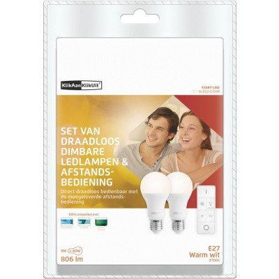Foto van KlikAanKlikUit Draadloze Dimbare LED-lampen met Afstandsbediening - ALED2-2709R NL
