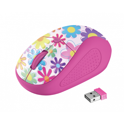 Trust Primo Wireless Mouse - pink flowers 21481