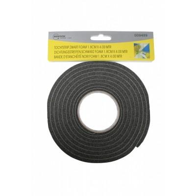 Tochtstrip Zwart Foam 1,8CM*4,00M