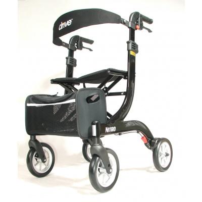 Lichtgewicht rollator Nitro medium zwart met ultra soft wielen