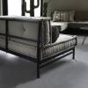 Afbeelding van Metalen Frame Loungekussens Zwart 120x80 cm met Rugleuning