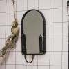 Bild von Kerzenhalter mit Spiegel oval-17x12x29 cm-schwarz