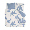 Bild von Dekbedovertrek Simple Leaves Off White / Jeans Blauw - 200x220 cm