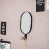 Afbeelding van Ovale Spiegel met haak - Zwart-15x1,5x28cm
