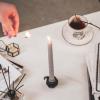 Bild von Set von 4 gedrehter Kerzen / Grau 2x30cm
