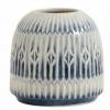 Bild von Blue Rill Vase Blautet weiß um Körper m