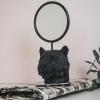 Afbeelding van Tijgerhoofd Spiegel-Zwart-12x12x23cm