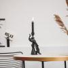 Afbeelding van Pauwen Kandelaar - Zwart -11x8x23,5cm