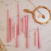 Afbeelding van Set van 4 gedraaide kaarsen/ Roze 2x30cm