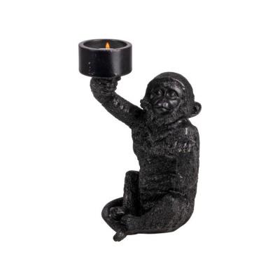 Theelichthouder aap ø9.5x21cm zwart