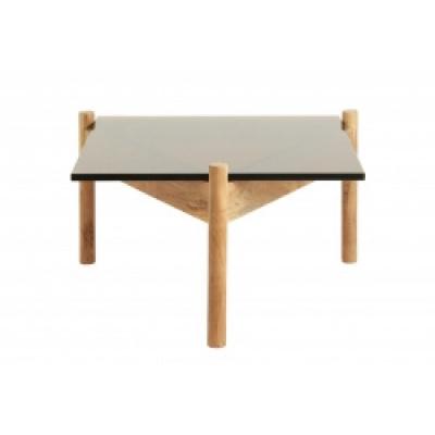 Bernsteiner Couchtisch, Quadrat, Holz / Glas